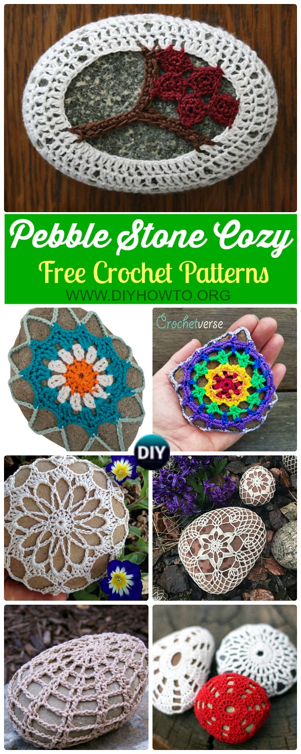 Collection of Crochet Pebble Stone Cozy Free Patterns: Crochet Rock Cover, Stone Cozy, Crochet Covered Stone, Snowflake Stone, Lace Stone and More