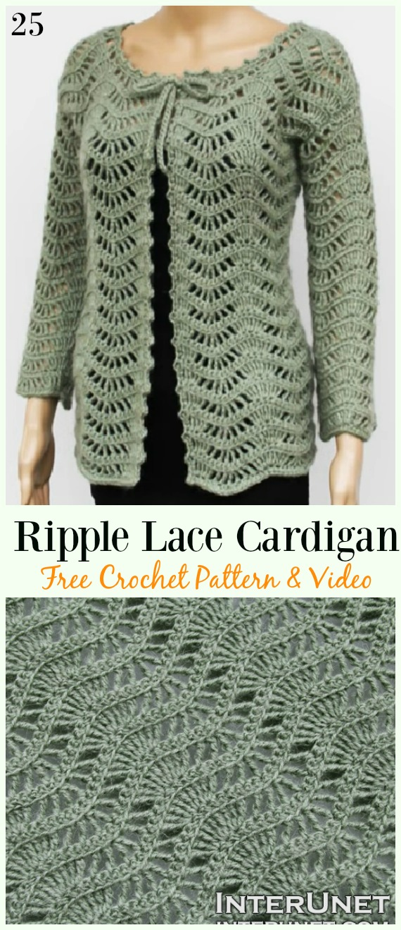 Ripple Lace Cardigan Free Crochet Pattern & Video - #Crochet; Women Summer Jacket #Cardigan; Free Patterns