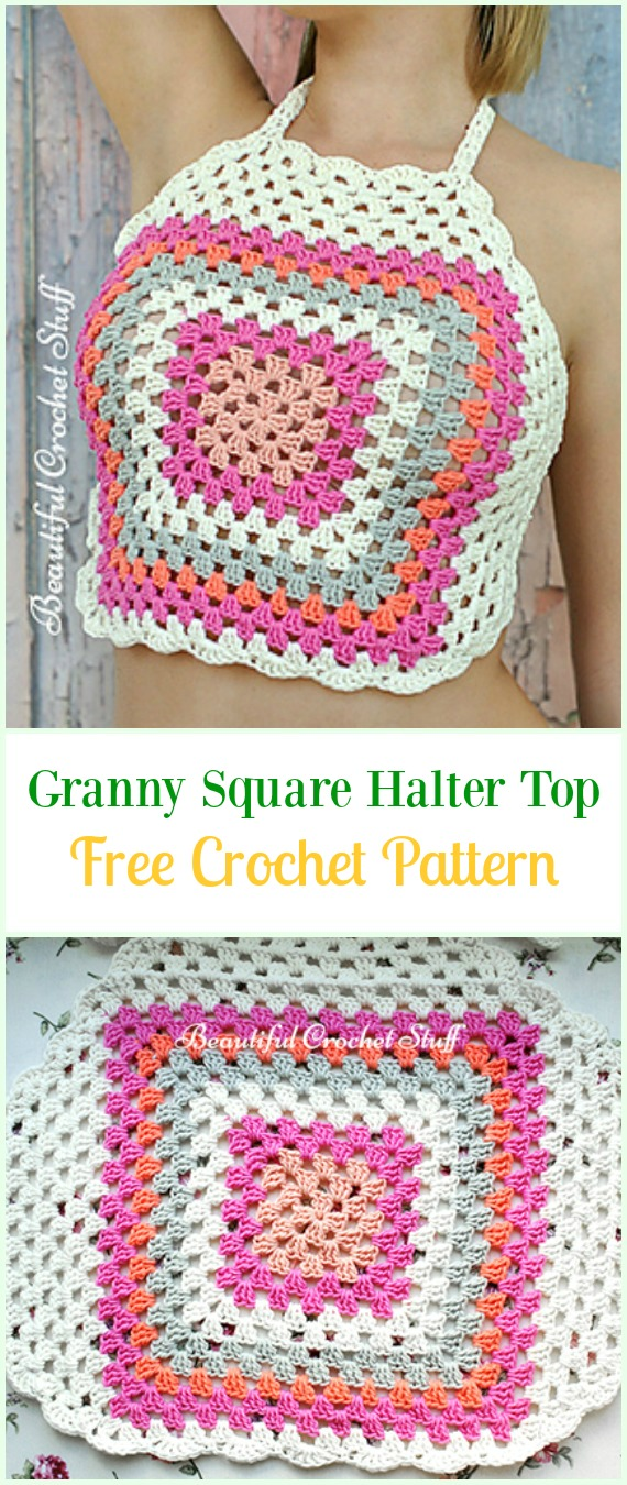 Crochet Granny Square Halter Top Free Pattern Video-#Crochet Summer Halter #Top Free Patterns