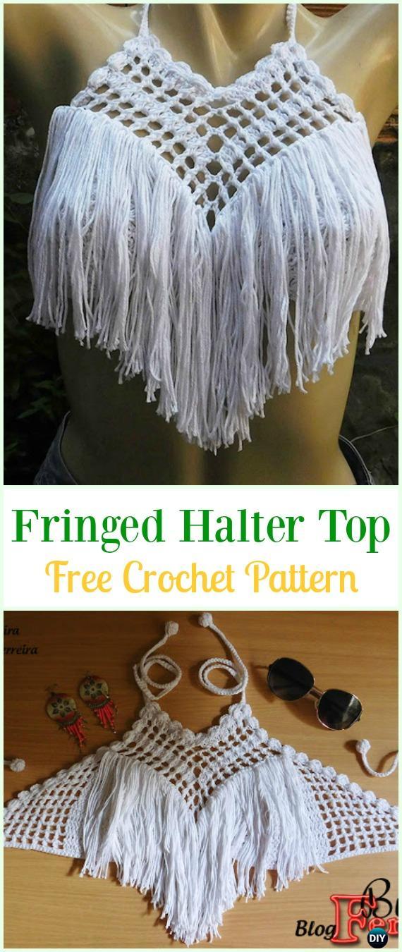 Crochet Fringed Crop Top Free Pattern Video-#Crochet Summer Halter #Top Free Patterns