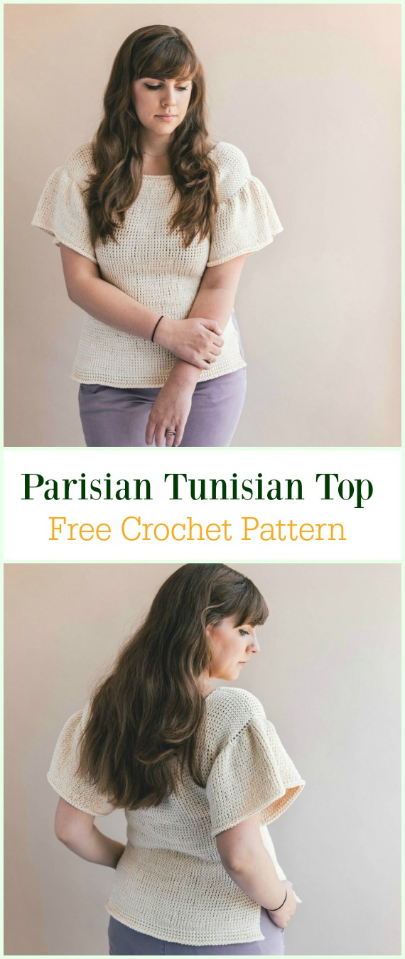 Crochet Parisian Tunisian Top Free Pattern-Crochet Summer Top Free Patterns