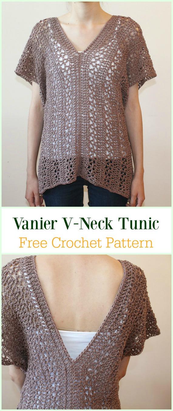 Crochet Vanier V-Neck Tunic Free Pattern-Crochet Summer Top Free Patterns
