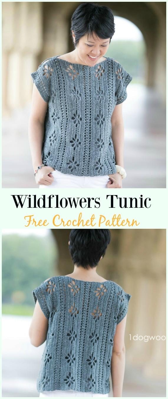 Wildflowers Tunic Top Crochet Free Pattern -#Crochet Summer #Top