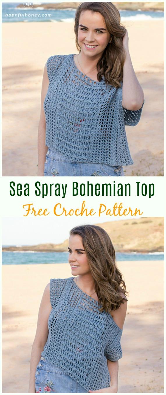 Sea Spray Bohemian Top CrochetFree Pattern -#Crochet Summer #Top Free Patterns