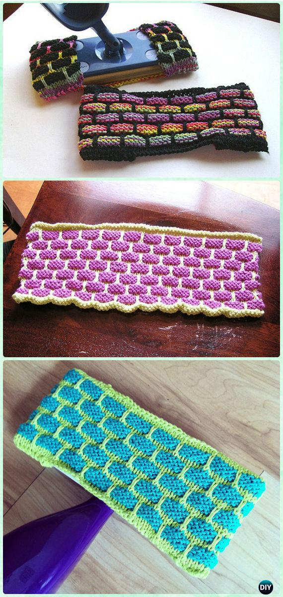 Knit Ballband Dishcloth Reusable Swiffer Cover Free Pattern