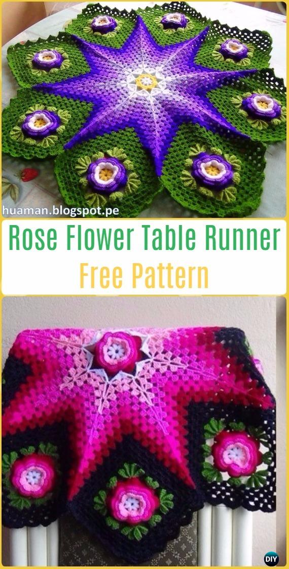 Crochet 3D Rose Flower Table Runner Free Pattern Video- Crochet Table Runner Free Patterns