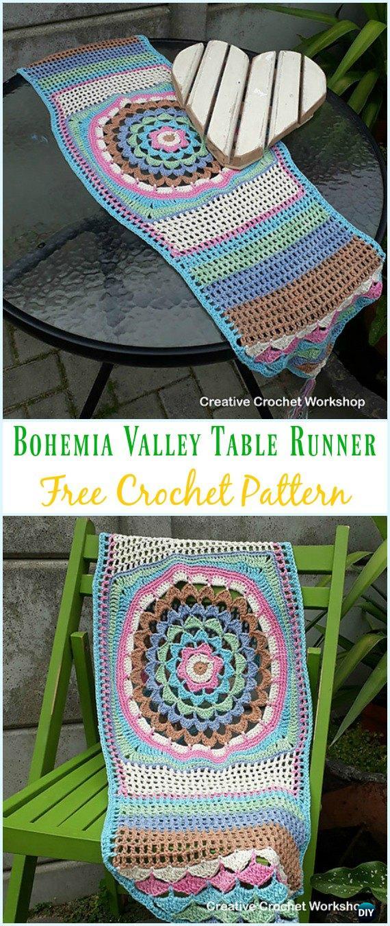 Crochet Bohemia Valley Table Runner Free Pattern - Crochet Table Runner Free Patterns
