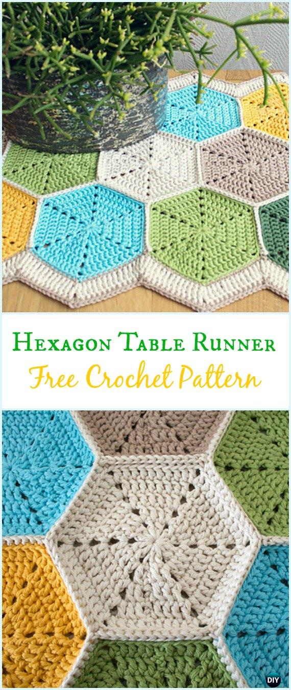 Crochet Hexagon Table Runner Free Pattern - Crochet Table Runner Free Patterns