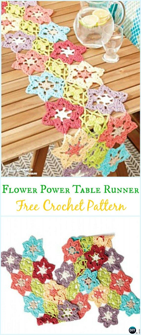 Crochet Flower Power Table Runner Free Pattern - Crochet Table Runner Free Patterns
