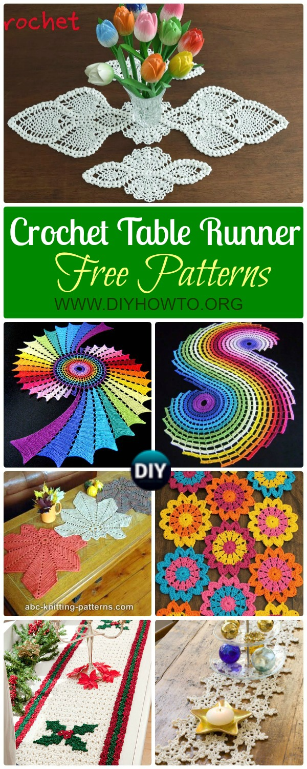 Collection of Crochet Table Runner Free Patterns: Crochet Puff Pineapple Table Runner, Spiral Table Path, Snowflake, Christmas, Autumn leaf Table Runner