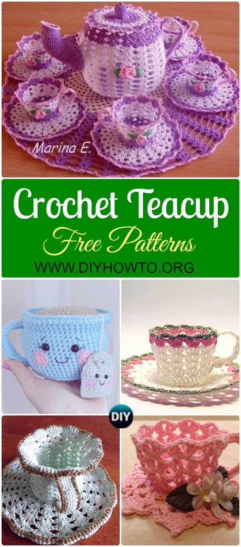 Collection of Crochet Teacup Free Patterns & Tutorials: Crochet decorative teacup and teapot, tea cup and saucer crochet patterns, tea cup gift ideas