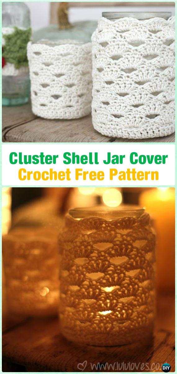Crochet Tealight Holder Shell Jar Cover Free Pattern By LuluLoves