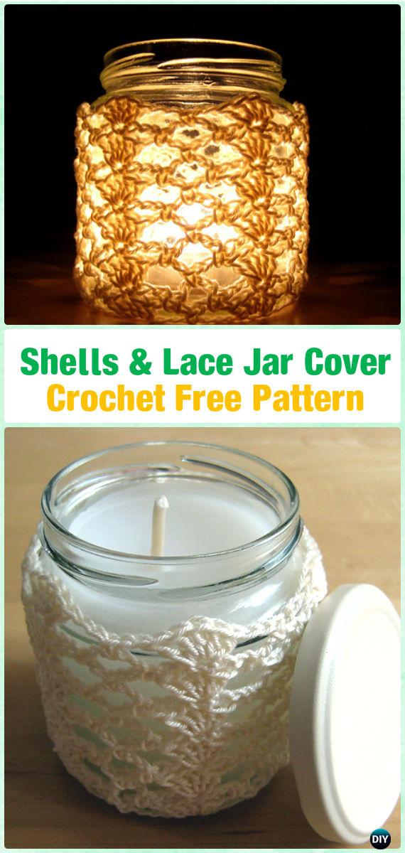 Crochet Shells & Lace Jar Candle Cover Free Pattern By Esther Chandler
