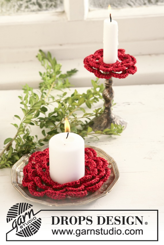 Crochet Christmas bobeche Candle Holder Free Pattern By Drops Design