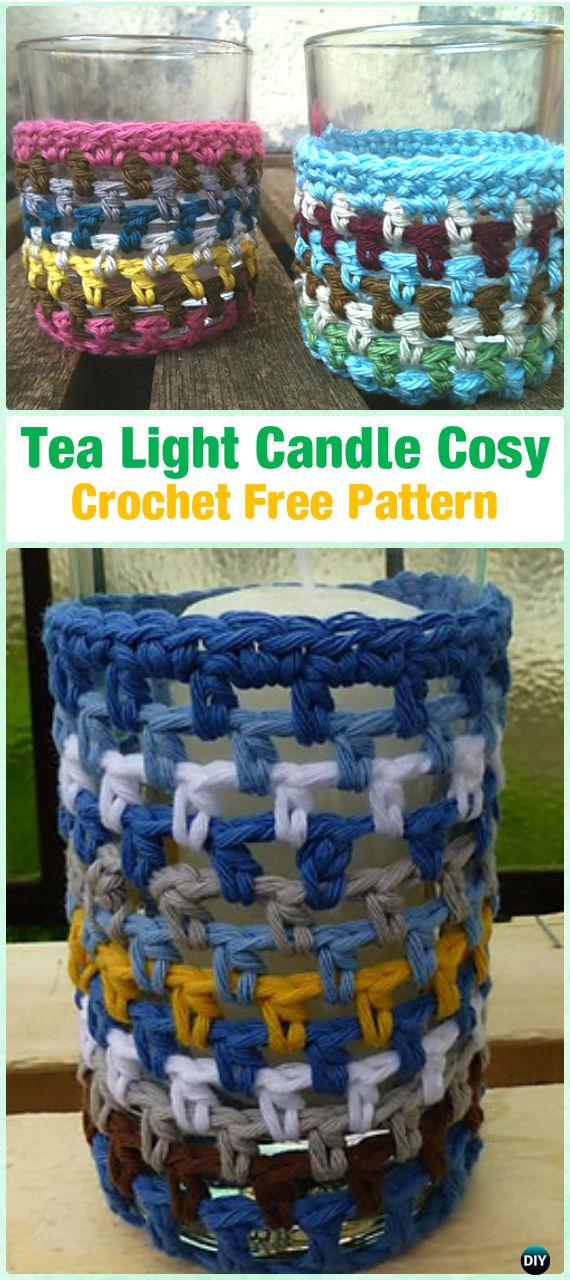 Crochet Tea light Candle Cosy Free Pattern by Lisette Eisenga