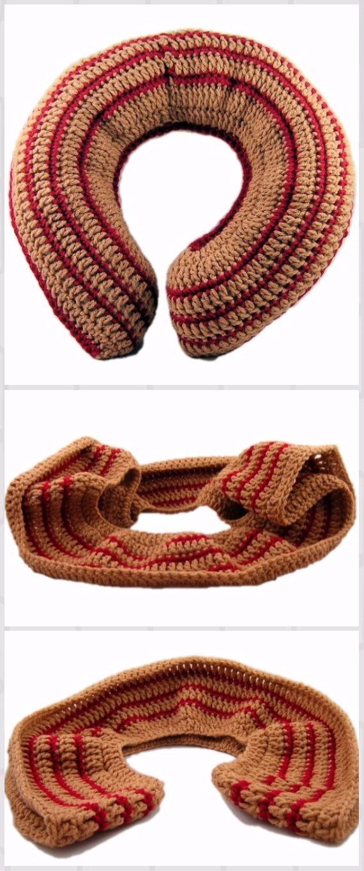 Crochet Striped Travel Pillow Free Pattern - Crochet Travel Neck Pillow Patterns Tutorials