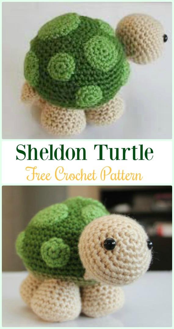 Amigurumi Crochet Sheldon Turtle Free Pattern - #Crochet; #Turtle; Amigurumi Toy Softies Free Patterns