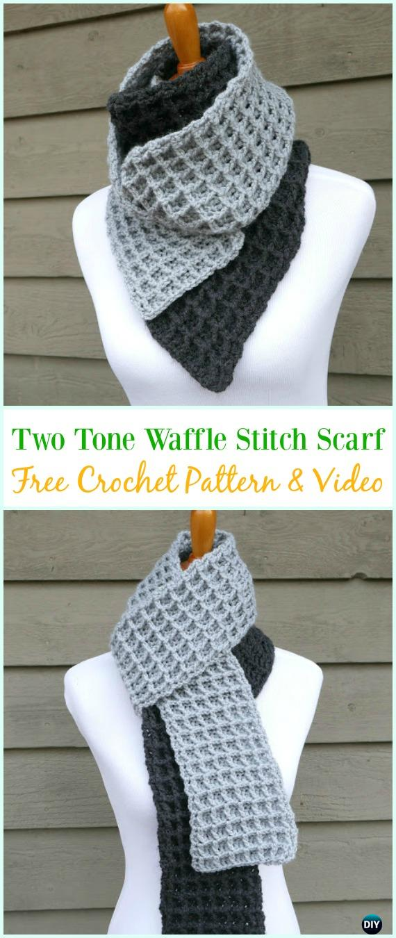 Crochet Two Tone Waffle Stitch Scarf Free Pattern- Crochet Waffle Stitch Free Patterns & Variations