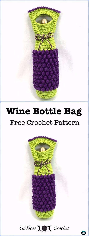 Crochet Bobble Wine Bottle Bag Free Pattern - Crochet Wine Bottle Cozy Bag Free Patterns