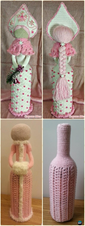 Crochet Wine Bottle Cozy Bag & Sack Free Patterns