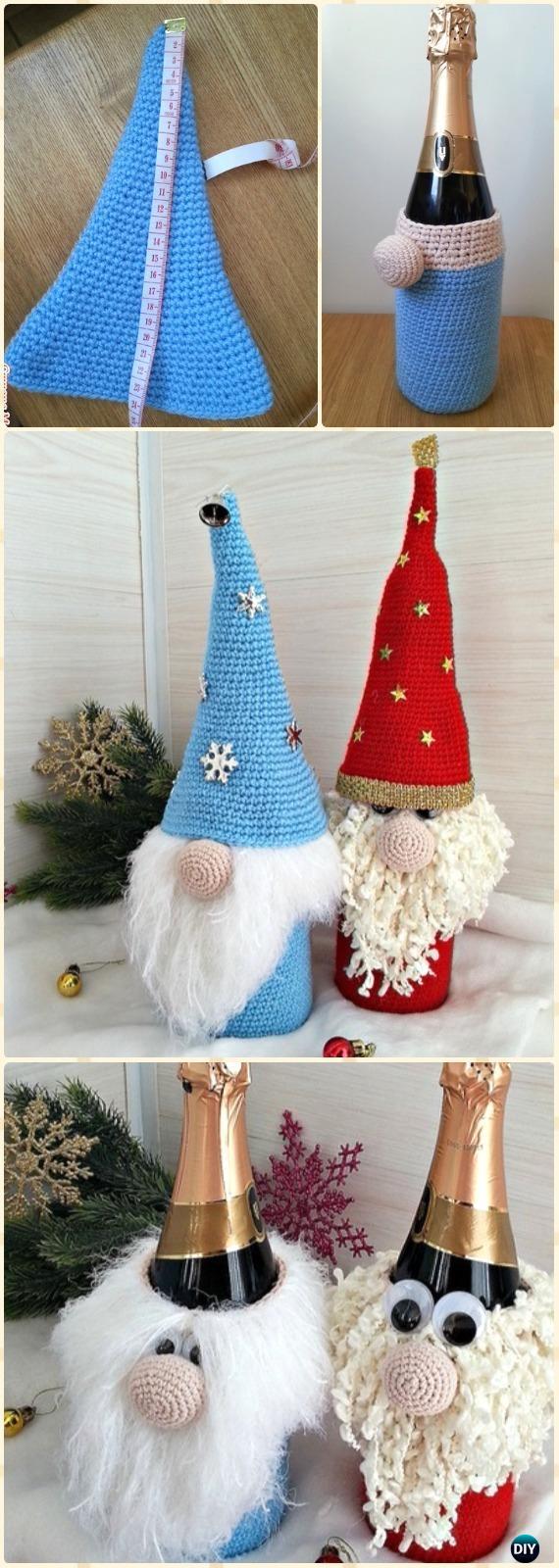 Crochet GnomeWine Bottle Cozy Free Pattern - Crochet Wine Bottle Cozy Bag Free Patterns