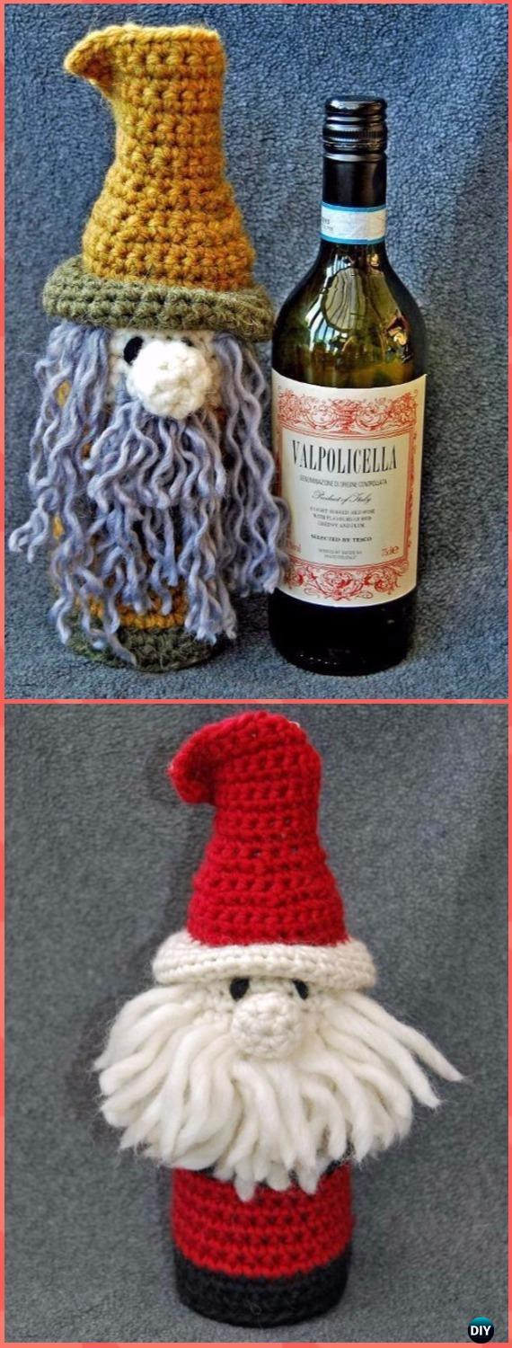 Crochet Bottle Buddy Gift Bags Free Pattern - Crochet Wine Bottle Cozy Bag & Sack Free Patterns