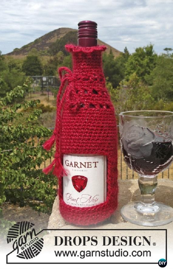 Crochet DROPS Pinot bottle cover Free Pattern - Crochet Wine Bottle Cozy Bag & Sack Free Patterns
