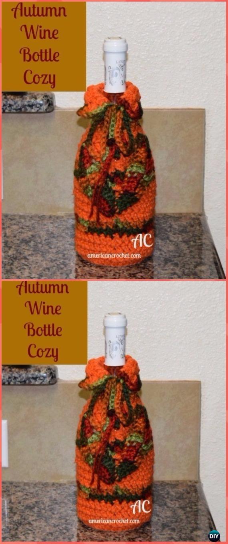 Crochet Autumn Wine Bottle Cozy Free Pattern - Crochet Wine Bottle Cozy Bag & Sack Free Patterns
