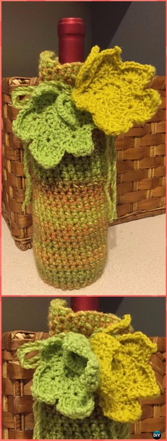 Crochet Crochet Wine Bottle Cover Free Pattern & Video - Crochet Wine Bottle Cozy Bag & Sack Free Patterns