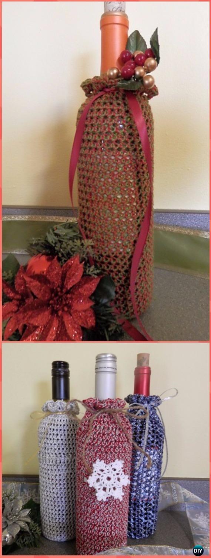Crochet Holiday Wine Bottle Covers Free Pattern - Crochet Wine ...