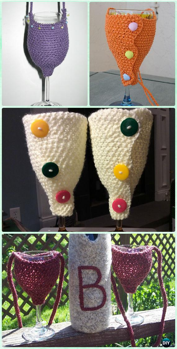 Knit Wine Glass Holder Free Pattern - Crochet Wine Glass Lanyard Holder & Cozy Free Patterns