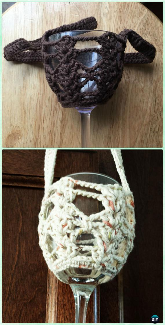 Crochet Firene Wine Glass Lanyard Free Pattern - Crochet Wine Glass Lanyard Holder & Cozy Free Patterns