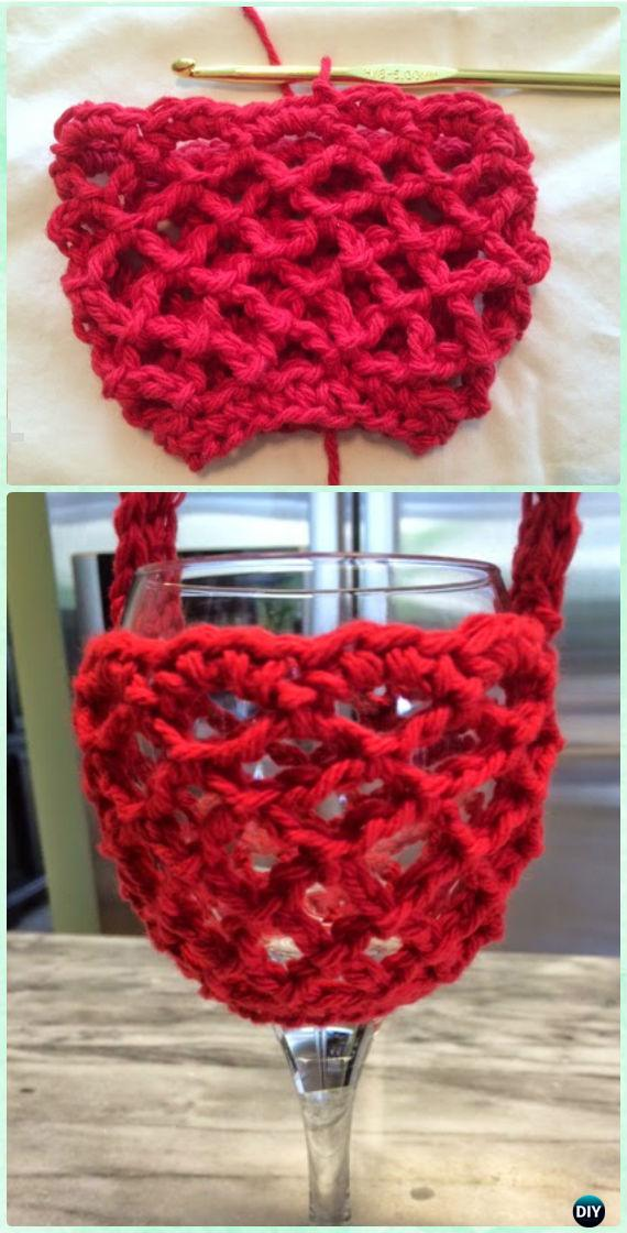 Crochet Net Wine Glass Holder with Neck Free Pattern - Crochet Wine Glass Lanyard Holder & Cozy Free Patterns