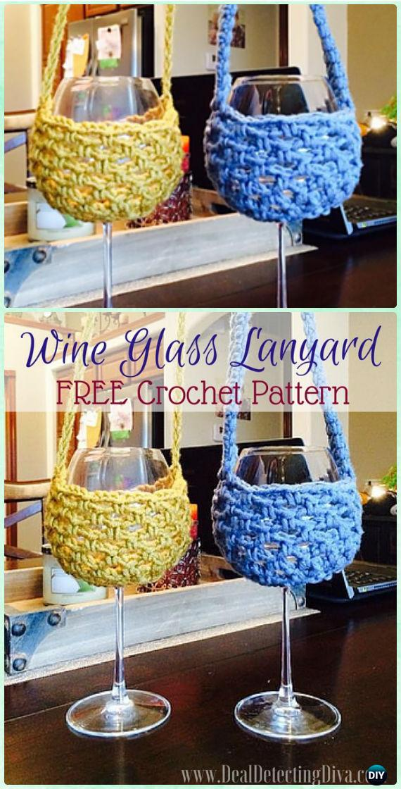 Crochet Spiral Lanyard Wine Glass Holder Free Pattern - Crochet Wine Glass Lanyard Holder & Cozy Free Patterns