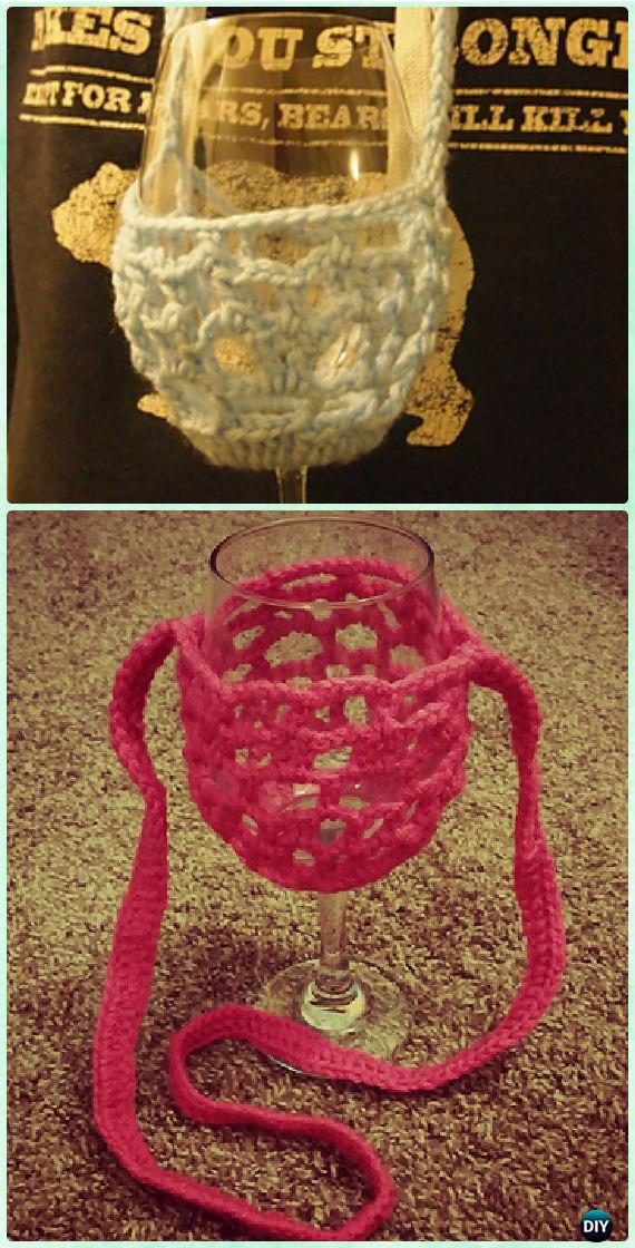 Crochet Wine Glass Cozy Free Pattern - Crochet Wine Glass Lanyard Holder & Cozy Free Patterns