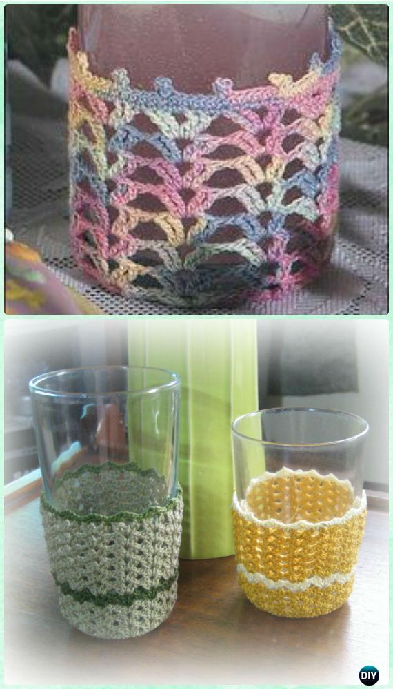 Crochet Striped Shells Glass Cozy Free Pattern - Crochet Wine Glass Lanyard Holder & Cozy Free Patterns
