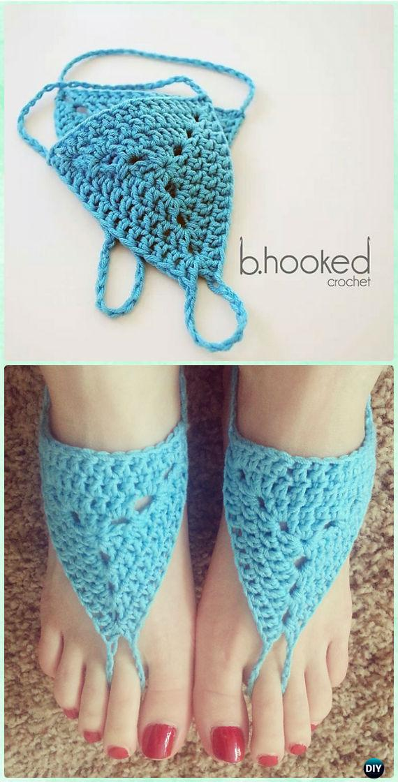 Crochet New Waves Barefoot Sandals Free Pattern - Crochet Women Barefoot Sandal Anklets Free Patterns