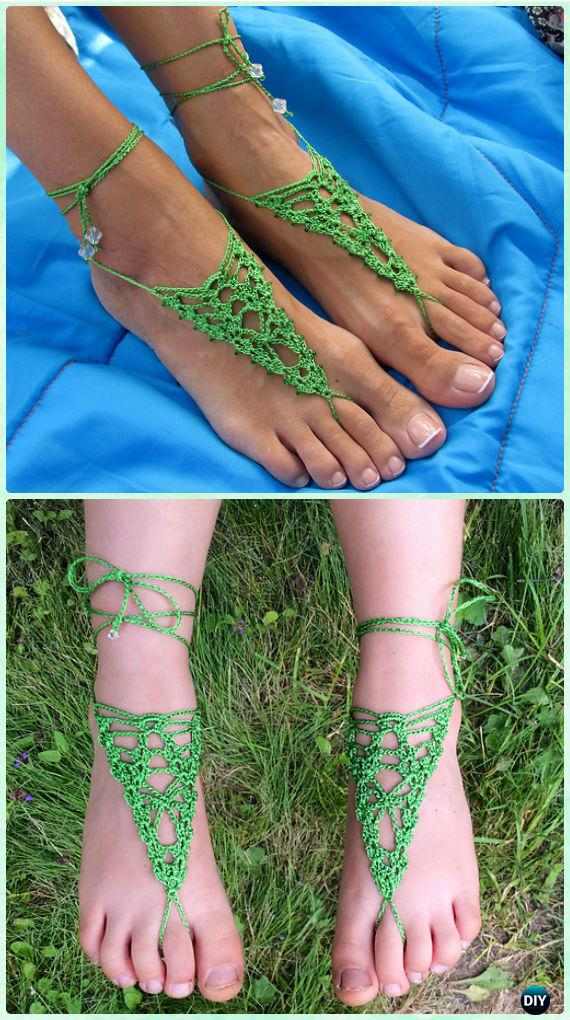 Crochet Arachnid Barefoot Sandals Free Pattern - Crochet Women Barefoot Sandal Anklets Free Patterns