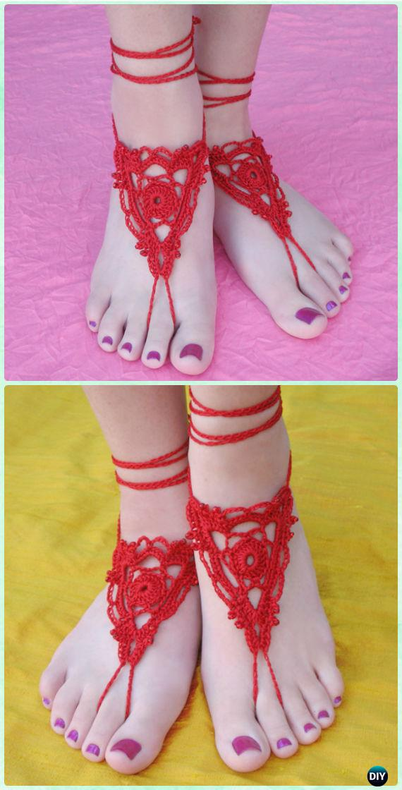 Crochet Goddess Barefoot Sandals Free Pattern - Crochet Women Barefoot Sandal Anklets Free Patterns