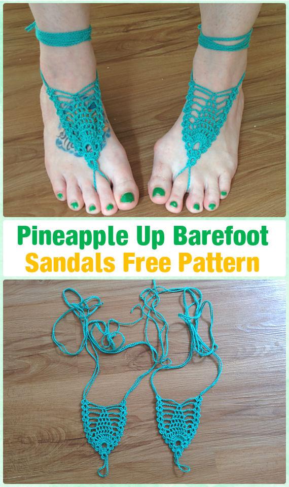 Crochet Pineapple Up Barefoot Sandals Free Pattern - Crochet Women Barefoot Sandal Anklets Patterns