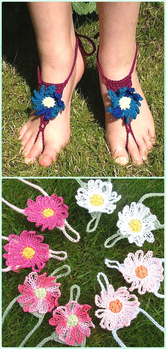 Crochet Daisy Flower Barefoot Sandals Free Pattern Crochet Women