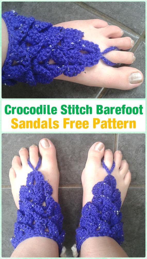 Crochet Crocodile Stitch Barefoot Sandals Free Pattern - Crochet Women Barefoot Sandal Anklets Free Patterns