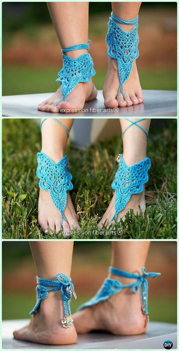 Crochet Flutterby Barefoot Sandals Pattern - Crochet Women Barefoot Sandal Anklets Patterns
