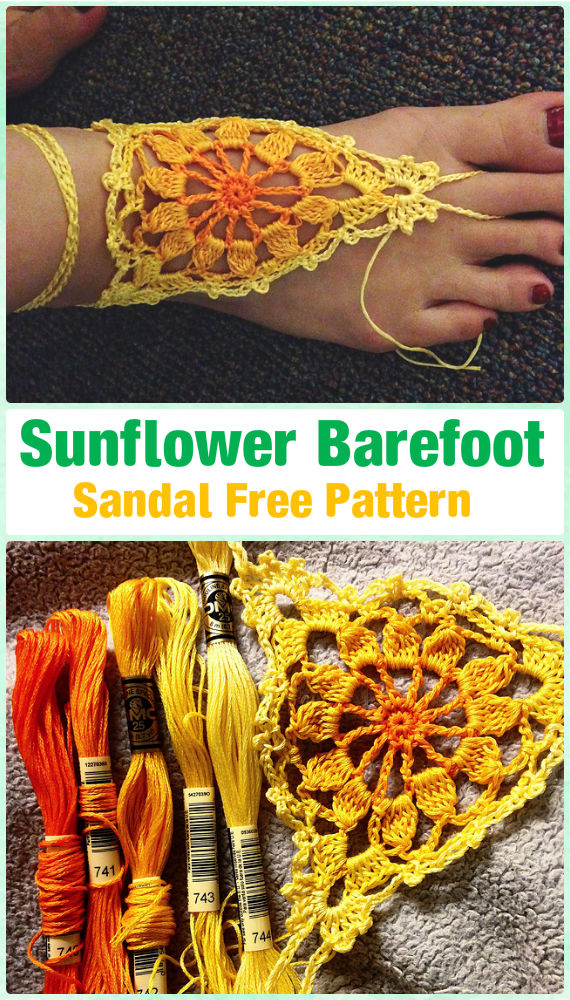 Crochet Women Barefoot Sandal Anklets Free Patterns