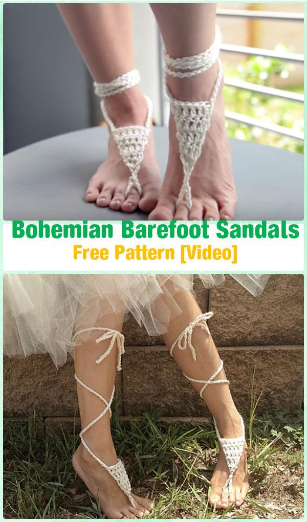 Crochet Bohemian Barefoot Sandals Free Pattern [Video] - Crochet Women Barefoot Sandal Anklets Free Patterns