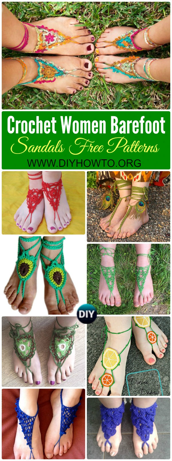 Crochet Women Barefoot Sandal Anklets Free Patterns: Crochet Adult Barefoot Sandals, Beach Sandals, Bridal Sandals
