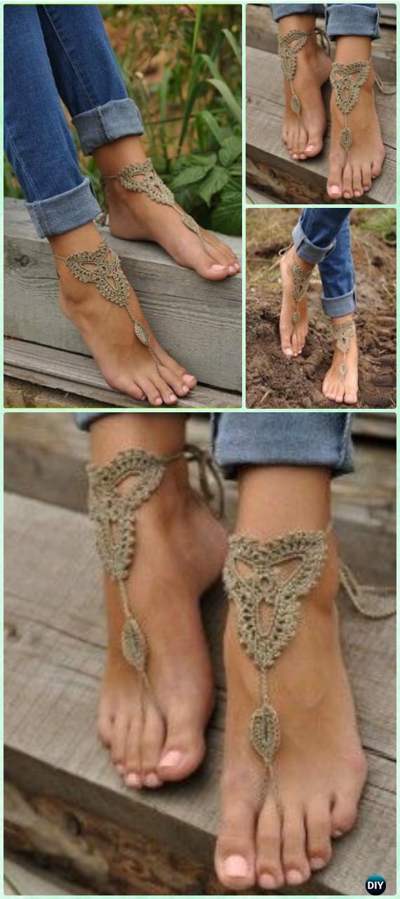 Crochet Lace Barefoot Beach Sandals Free Pattern - Crochet Women Barefoot Sandal Anklets Patterns