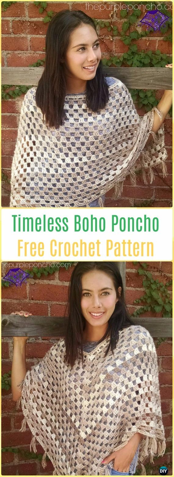 Crochet Timeless Boho Poncho Free Pattern - Crochet Women Capes & Poncho Patterns