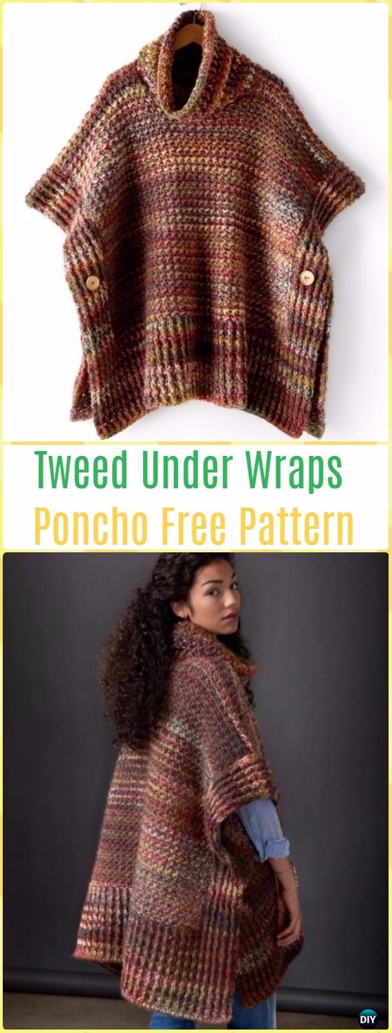 Crochet Easy Patons Tweed Under Wraps Poncho Free Pattern - Crochet Women Capes & Poncho Patterns