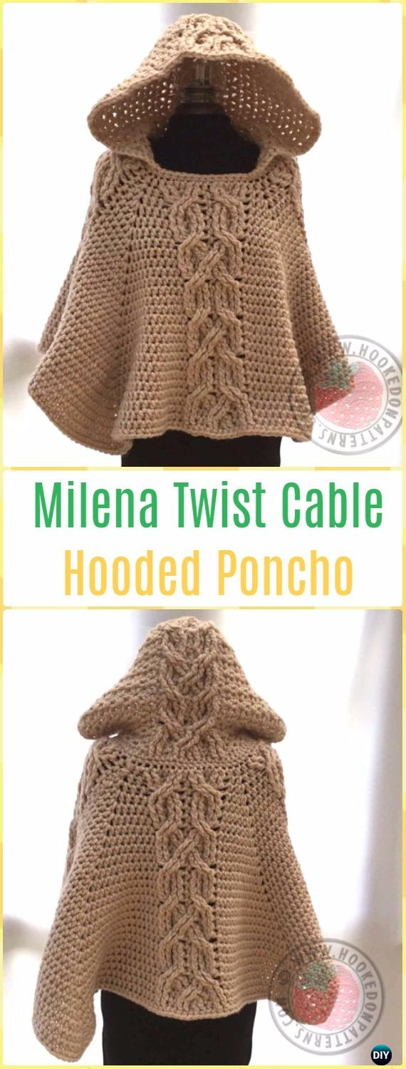 Milena Twist Cable Hooded Poncho Pattern by HookedoPatterns - Crochet Women Capes & Poncho Patterns